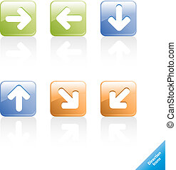 Set of aqua web 2.0 direction computer icons. Easy to edit, any size.
