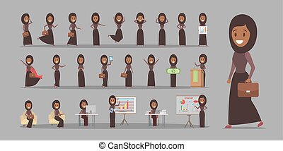 Set of arab business woman or office worker