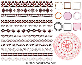 set of arabesque pattern frame border