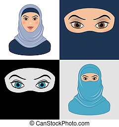 Set of  Arabic Muslim Woman. Icons. Flat design.