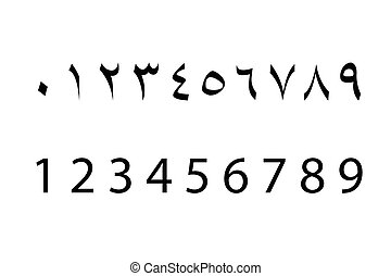 Set of arabic numbers , vector
