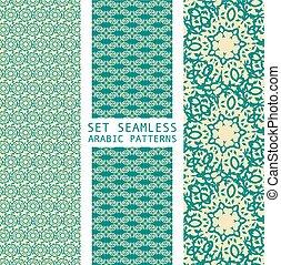 Set of Arabic seamless patterns, vector