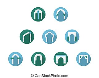 Set of arched frames flat round vector icons