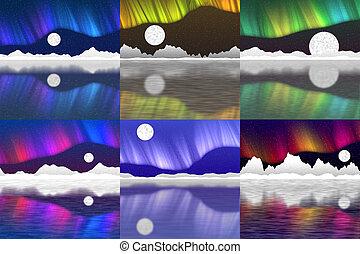 Set of arctic pole landscape generated background