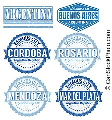 Set of Argentina cities stamps on white background, vector illustration