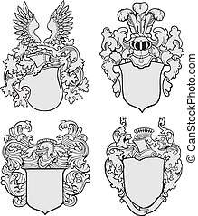 Vector image of four medieval coats of arms, executed in woodcut style, isolated on white background. No blends, gradients and strokes.