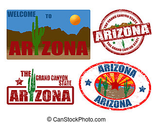 Set of grunge stamps with word Arizona written inside, vector illustration