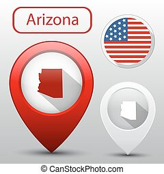 Set of Arizona state with flag america and map pointer