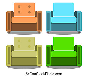 set of armchairs front view isolated on white background. Realistic Modern armchair
