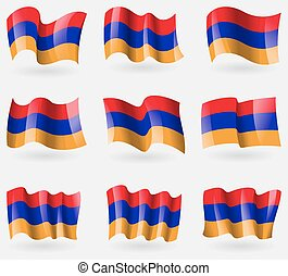 Set of Armenia flags in the air. Vector