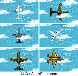 Set of army force plane