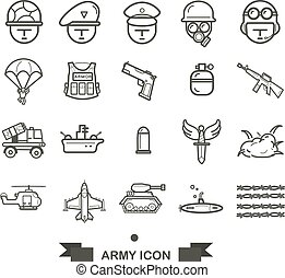 set of Army icon, line army and military icon vector