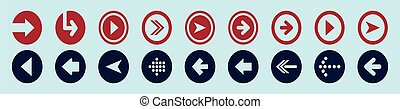 set of arrow cartoon icon design template with various models. vector illustration isolated on blue background