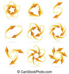 Set of arrow circles
