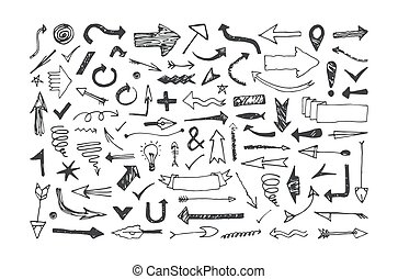 Set of arrow icons in the style of hand-drawn graphics