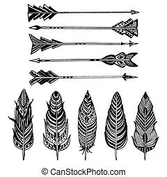 Set of Arrows and feathers on white background. Set of Ornamental Boho Style elements.
