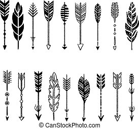 Set of Arrows, Black and White in Hand-Drawn Design, Vector...