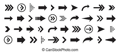 Set of arrows collection in black color on a white background for website design