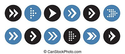 Set of arrows collection in circles on a white background for website design