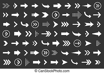 Set of arrows collection in white color on a black background for website design