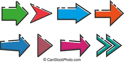 Set of arrows icon in a flat design. Vector illustration eps10