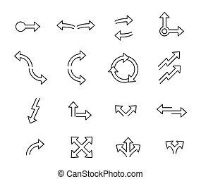 Set of arrows linear design. Vector illustration.