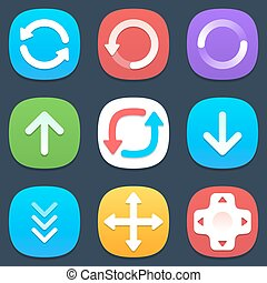 Set of arrows mobile icons in flat design. Vector...