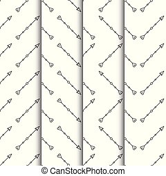Set of arrows seamless pattern on white background