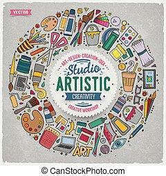 Set of Art cartoon doodle objects, symbols and items -...