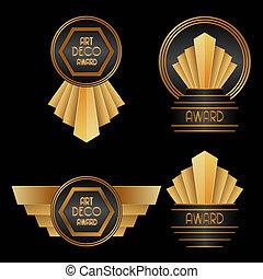 Art Deco Awards - set of Art Deco Awards vector illustration