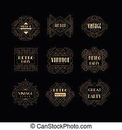 Set of Art Deco badges. Decorative golden frames in vintage style. Luxury linear emblems. Vector design for hotel logo, wedding or party invitation card