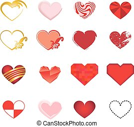 Set of art hearts vector
