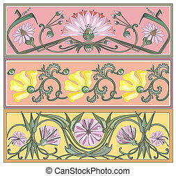 set of art nouveau borders