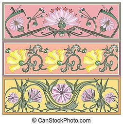 set of art nouveau borders