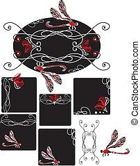 Set of Art Nouveau style dragonfly