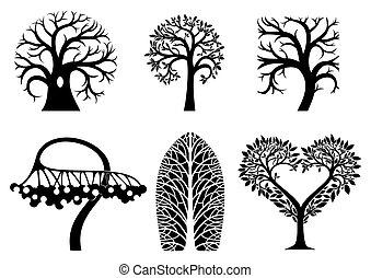 Set of art tree symbols