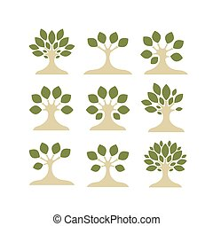 Set of art trees for your design