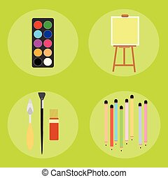 Set of artist pencils paint brush canvas palette knife