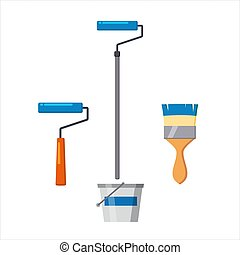 Set of artist tools for painting walls, home repair icons. Brush roller, roller on a long handle, a bucket of paint. Vector illustration isolated cartoon style