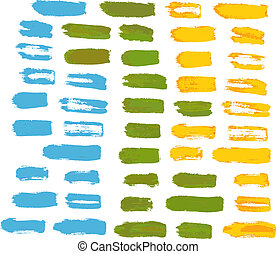 Set of artistic bristle brush strokes of different colors...
