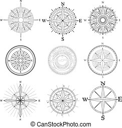 Set of artistic compass. - Vector set illustration of...