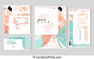 Set of artistic creative universal cards. Hand Drawn textures. Wedding, anniversary, birthday, Valentine s day, party. Design for poster, card, invitation, placard, brochure, flyer. Vector. Isolated