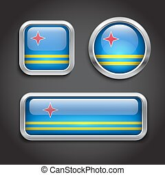 Aruba flag glass buttons