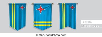 Set of Aruba waving pennants on isolated background vector illustration. 3 Aruban wavy realistic pennon as a symbol of patriotism