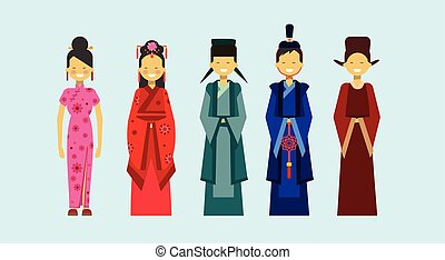 Set Of Asian Costumes, Ethnic People In Traditional Clothing...
