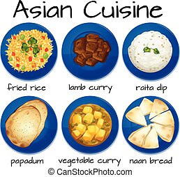 Set of asian cuisine