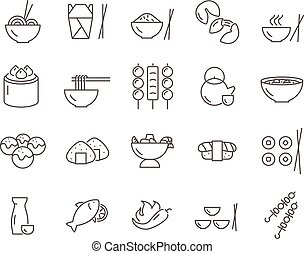 Set of asian food line vector icons.
