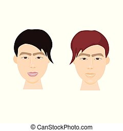 Set of Asian Hipster Men Face With Stylish Hairstyle Isolated Icons