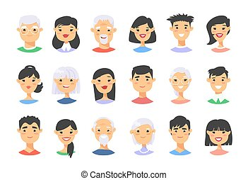 Set of asian male and female characters. Cartoon style elderly and young people icons. Isolated guys avatars. Flat illustration men and women faces. Hand drawn vector drawing girls and boys portraits
