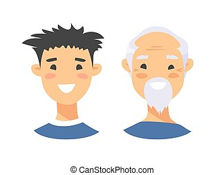 Set of asian male characters. Cartoon style elderly and young people icons. Isolated guys avatars. Flat illustration men faces. Hand drawn vector drawing portraits before and after
